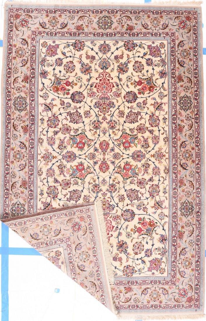Fine Persian Esphehan Silk Foundation Rug 9.4x6 - 2