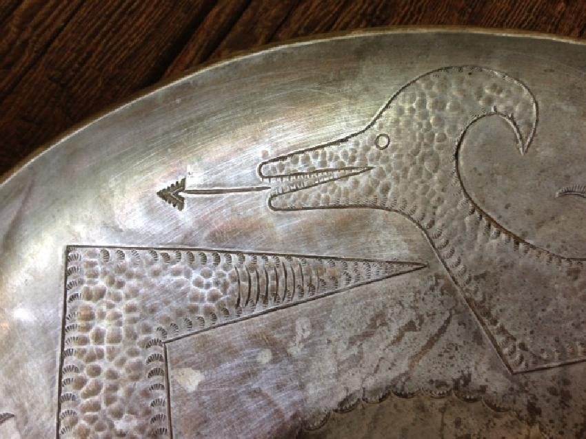 Awa Tsireh Hand-Stamped Metal Bowl with a Water Serpent