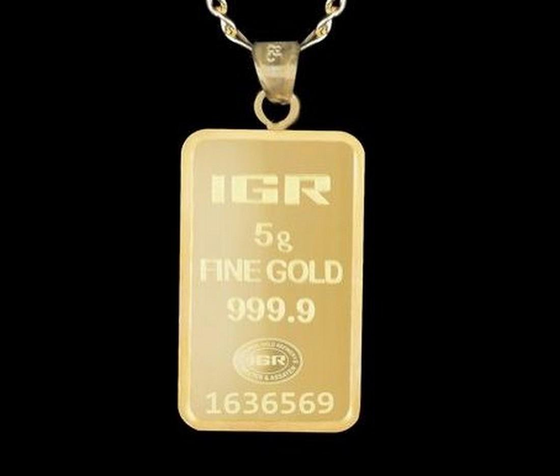 5 gr. pendant + 2 gr. chain. -  999/1000 & 585/1000 (14