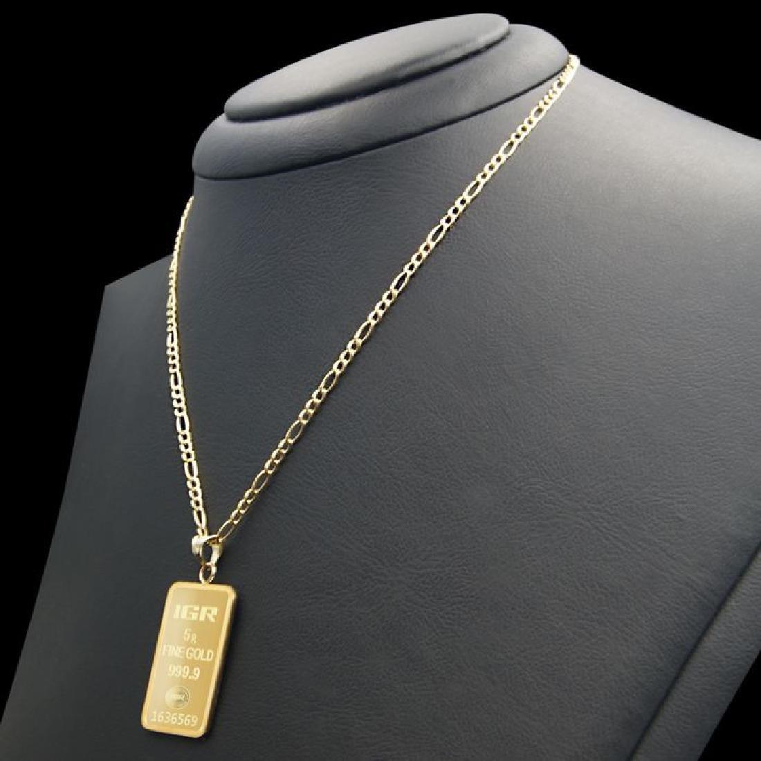 5 gr. pendant + 2 gr. chain. -  999/1000 & 585/1000 (14 - 2