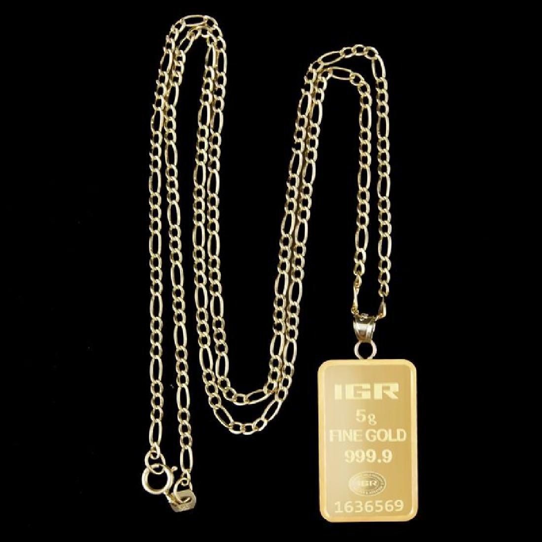 5 gr. pendant + 2 gr. chain. -  999/1000 & 585/1000 (14 - 3