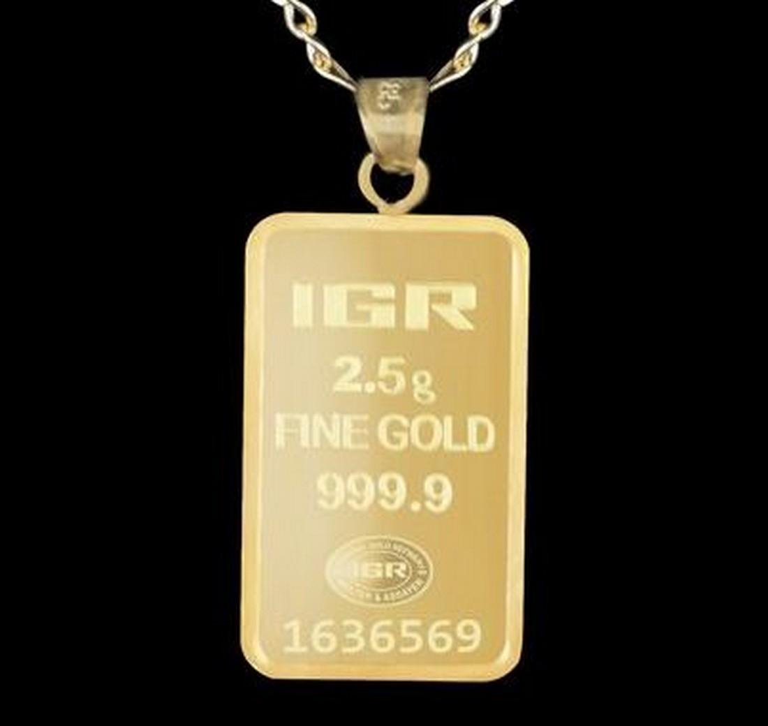 2.5 gr. pendant + 2 gr. chain. -  999/1000 & 585/1000