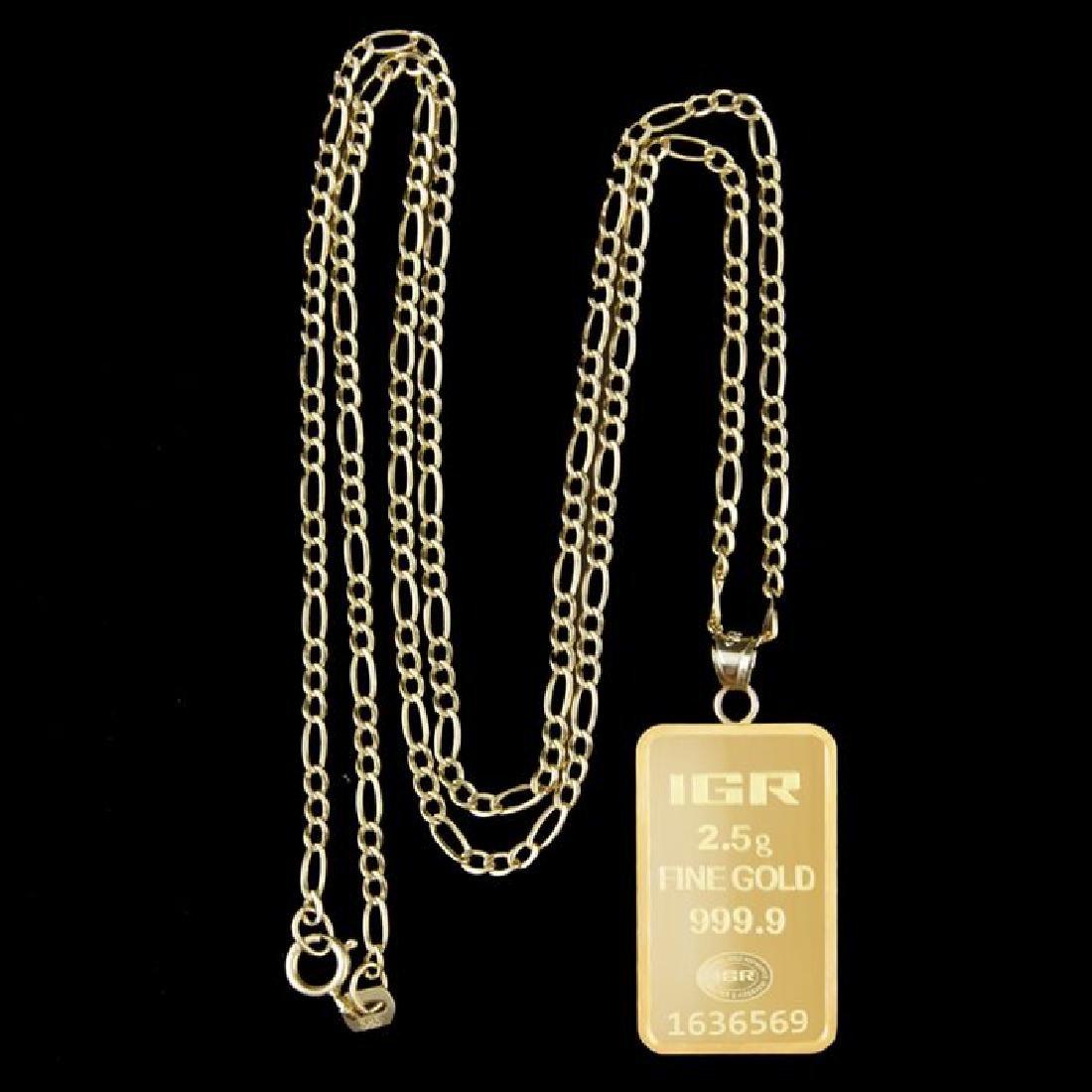 2.5 gr. pendant + 2 gr. chain. -  999/1000 & 585/1000 - 3