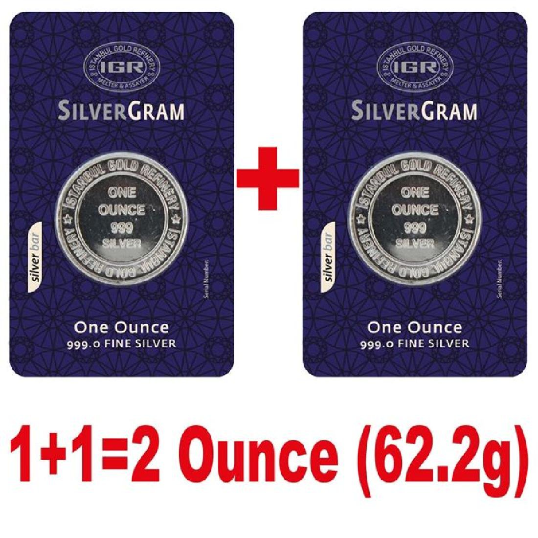 2 x 1 oz. total: 62.2 gr. - 999/1000 - Sealed/ - 3