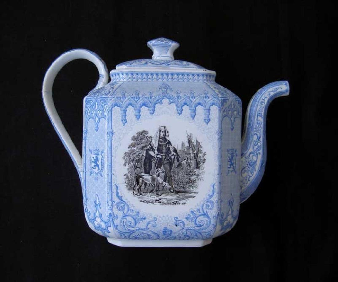Belgian transfer printed tea or coffee pot - 2