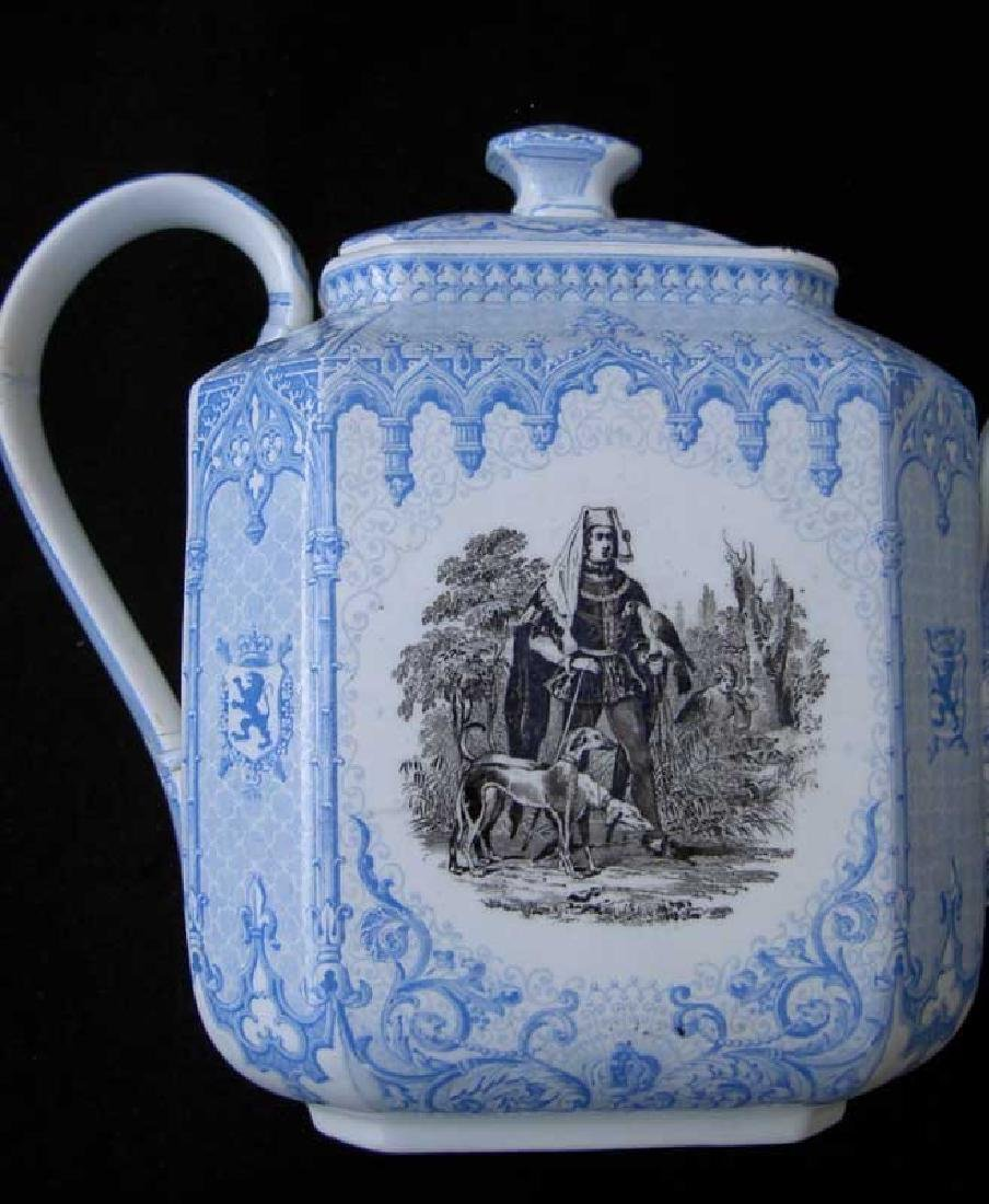 Belgian transfer printed tea or coffee pot - 5