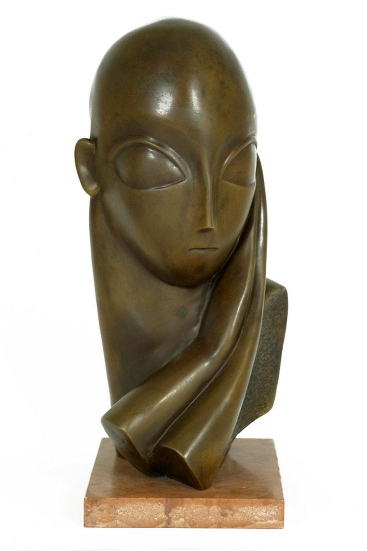 Bronze sculpture female bust after Constantin Brancusi