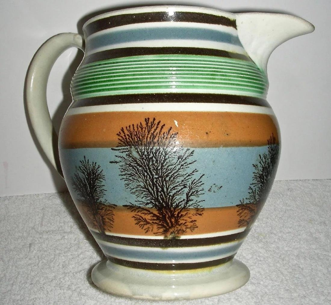"6 ¼"" Dendritic (Seaweed) Decorated Mocha Ware Jug - 6"