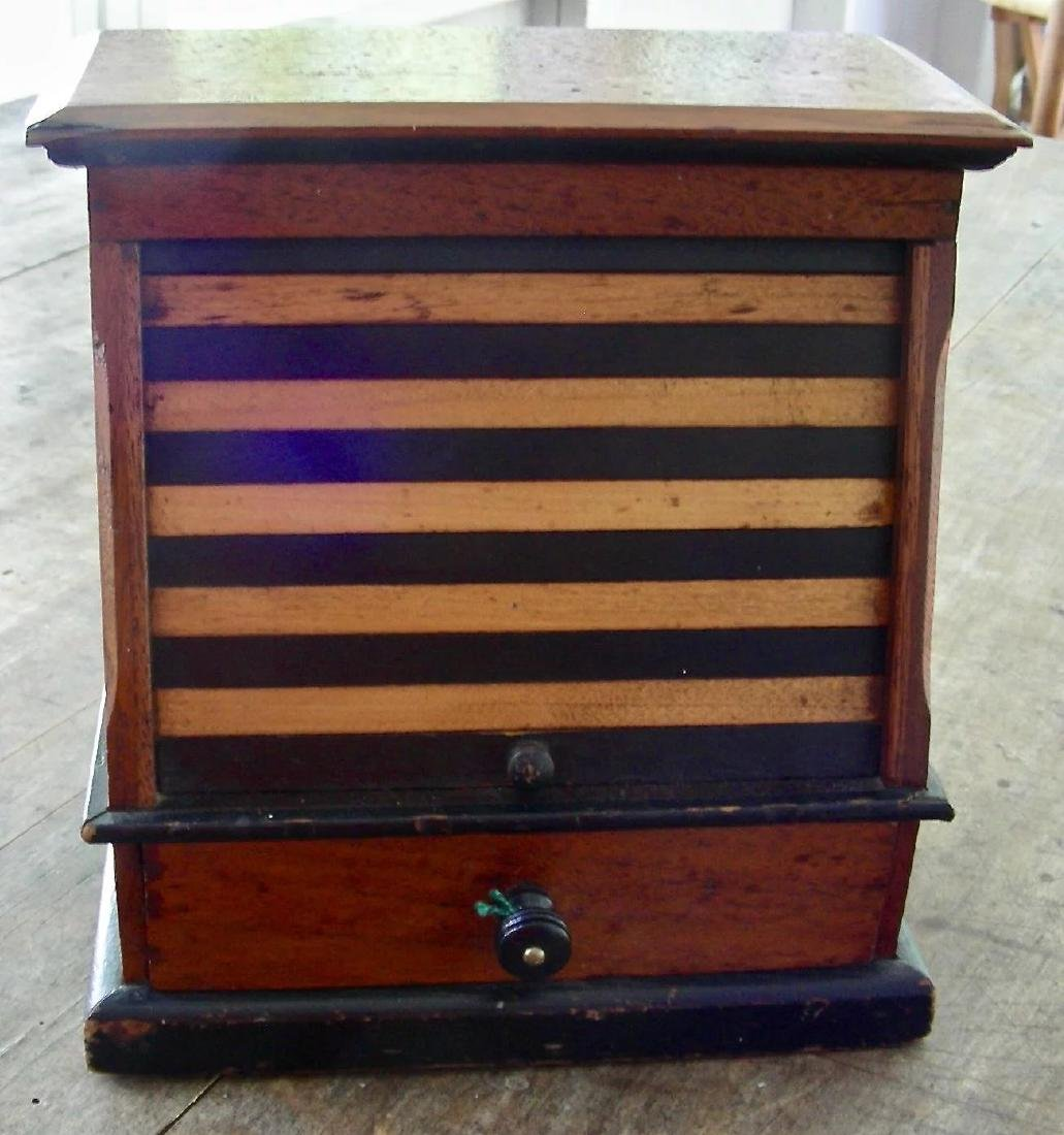 Variegated Tambour Front Sewing Box - 2