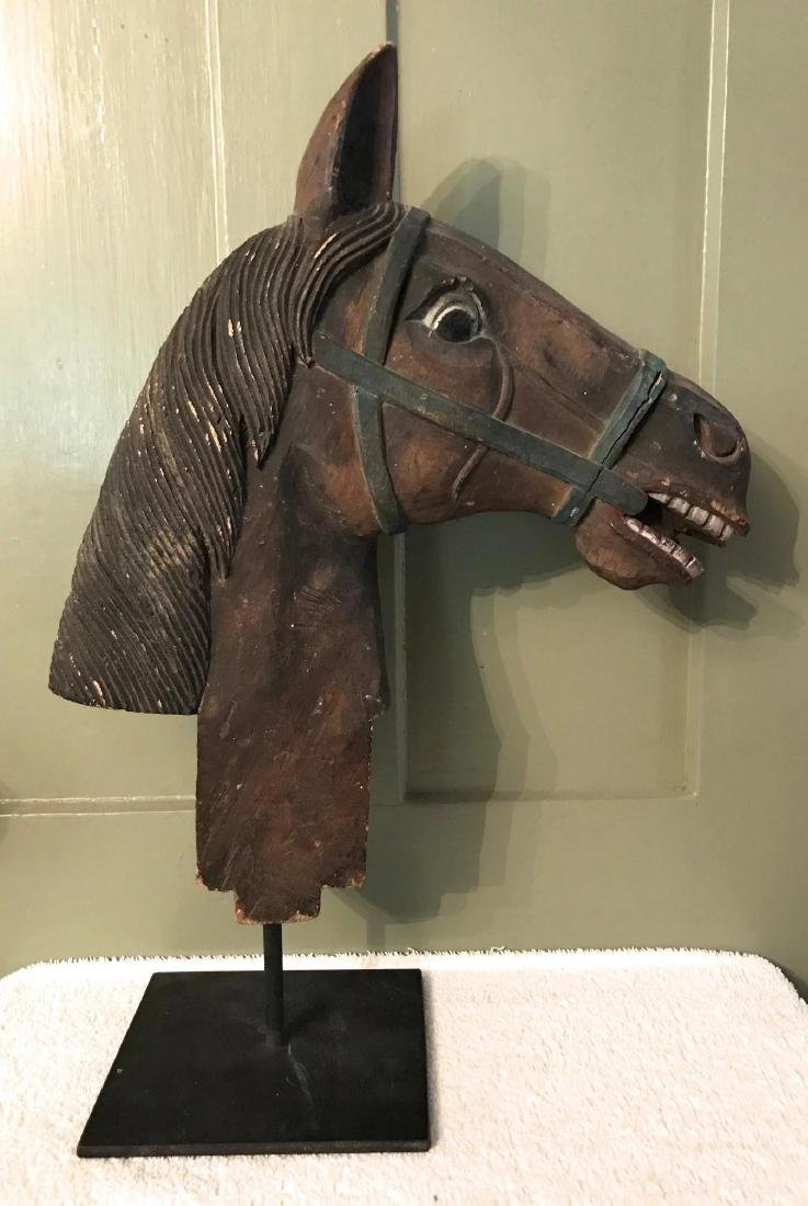 Carved Wooden Horse Head w/ Original Surface, c. 1900 - 2
