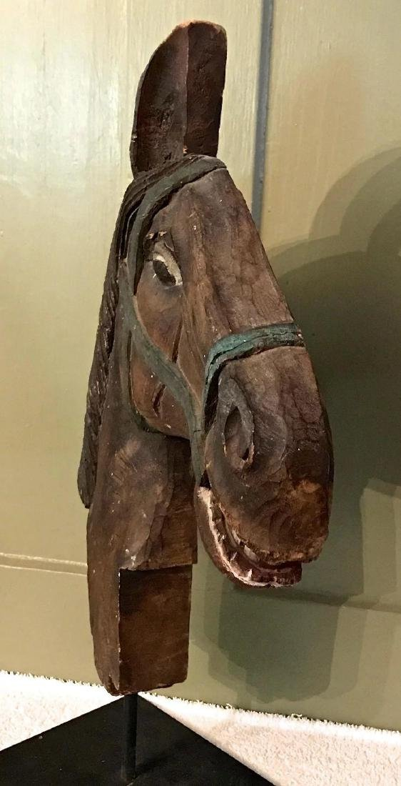 Carved Wooden Horse Head w/ Original Surface, c. 1900 - 7