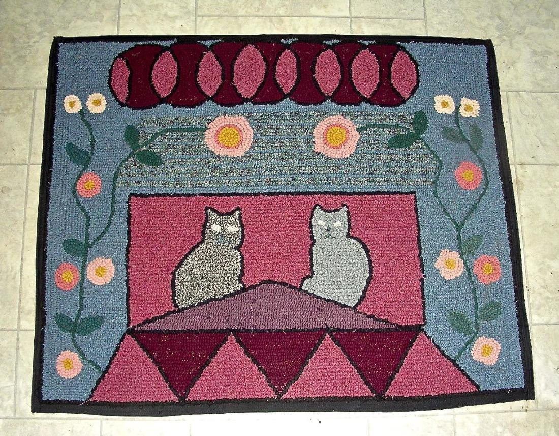 Hooked Rug with 2 Cats on a Roof - 2