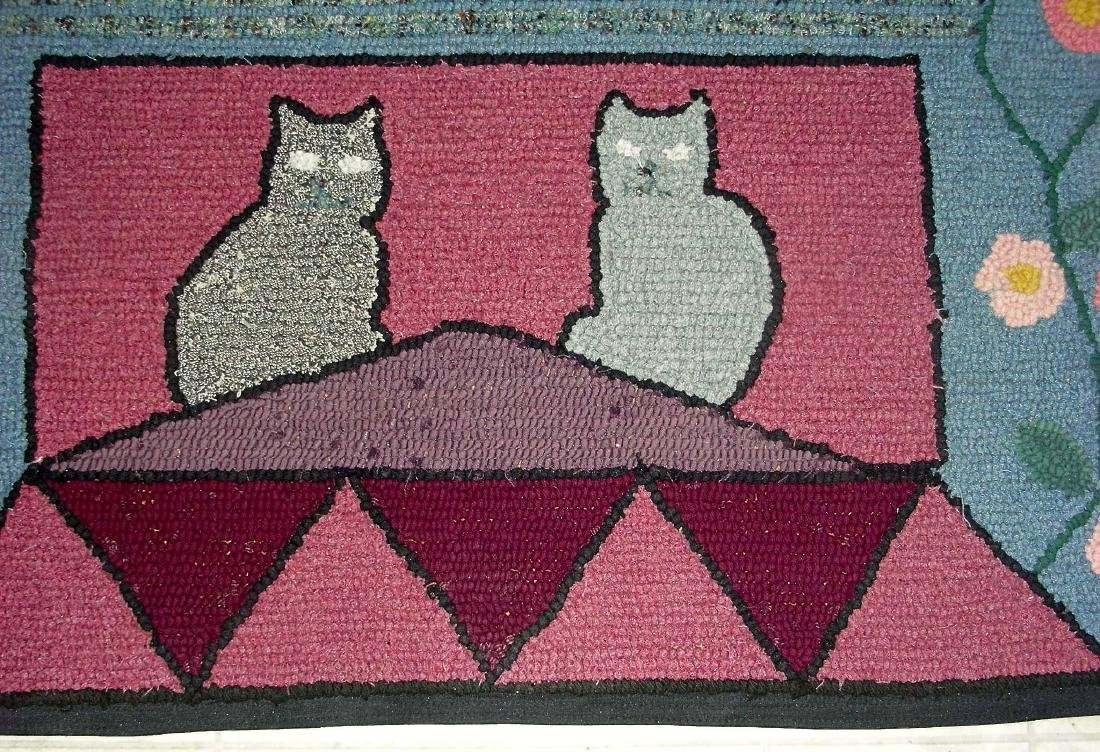 Hooked Rug with 2 Cats on a Roof - 3