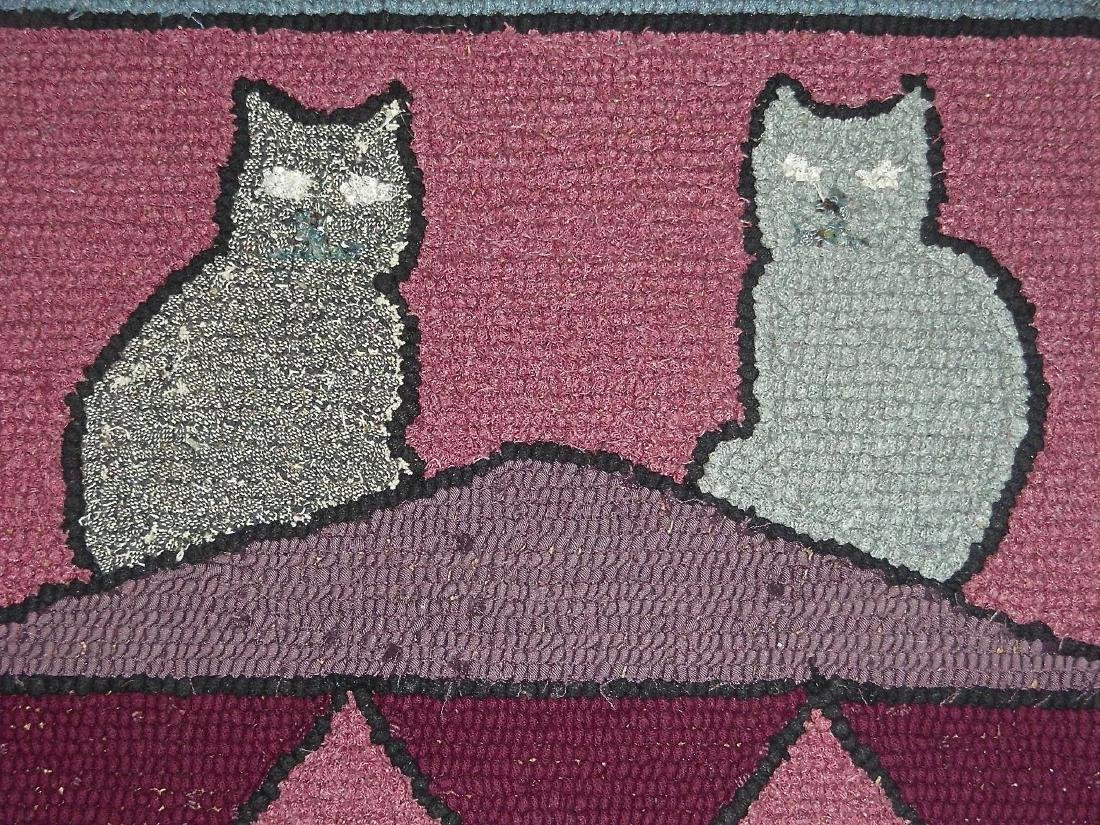 Hooked Rug with 2 Cats on a Roof - 4