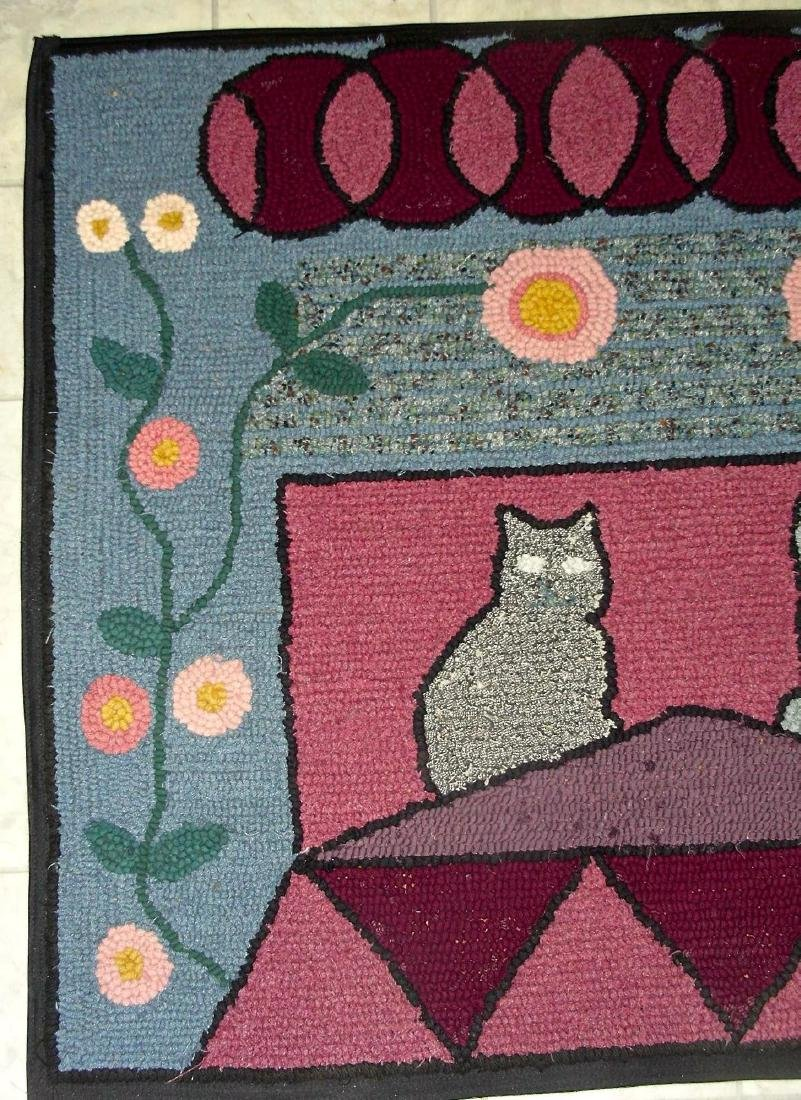Hooked Rug with 2 Cats on a Roof - 5