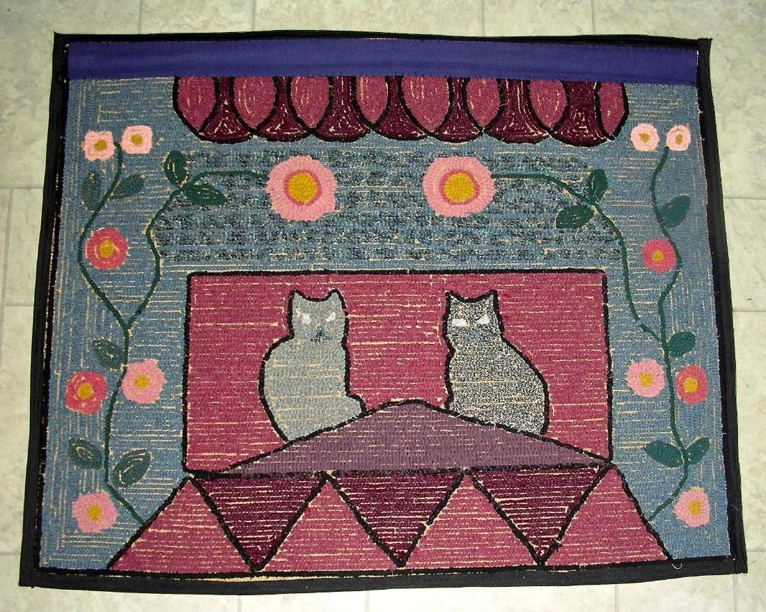 Hooked Rug with 2 Cats on a Roof - 8