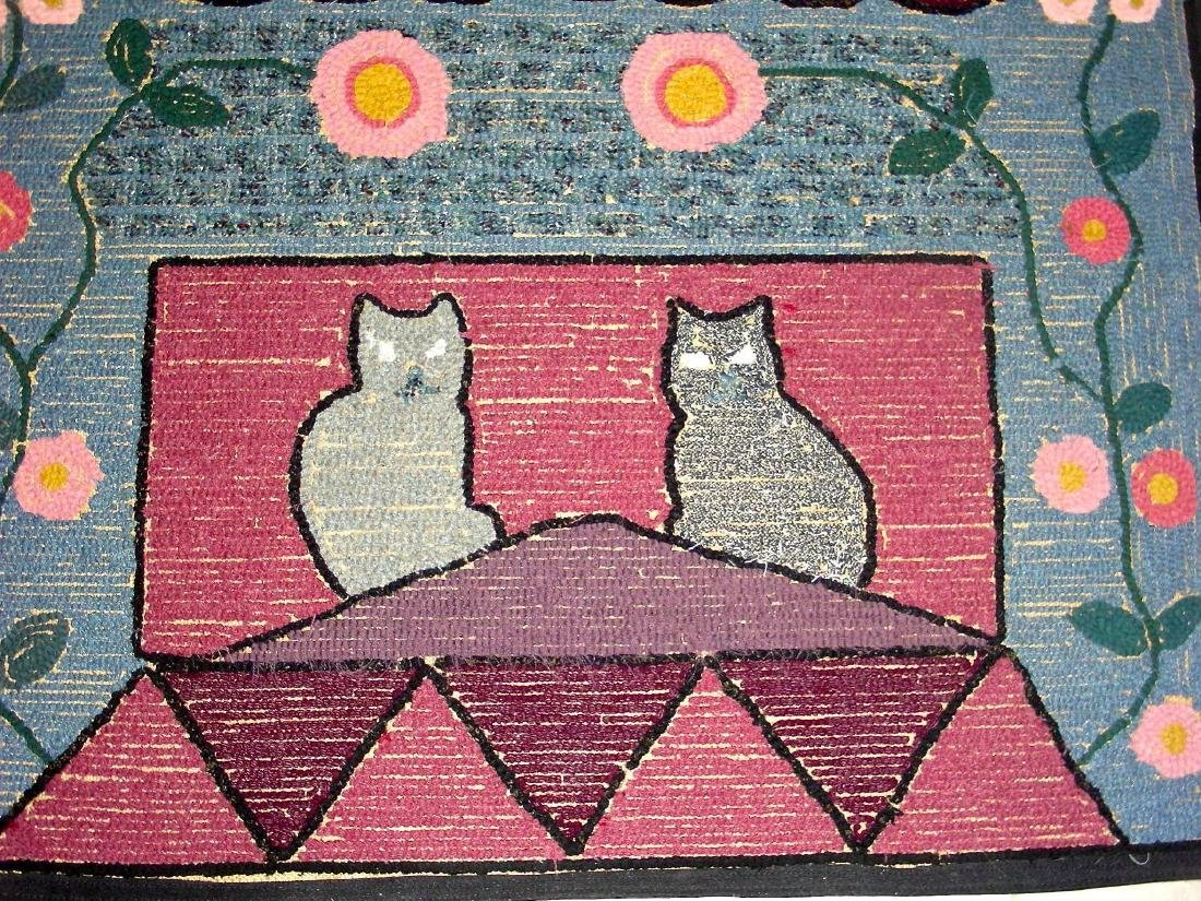 Hooked Rug with 2 Cats on a Roof - 9