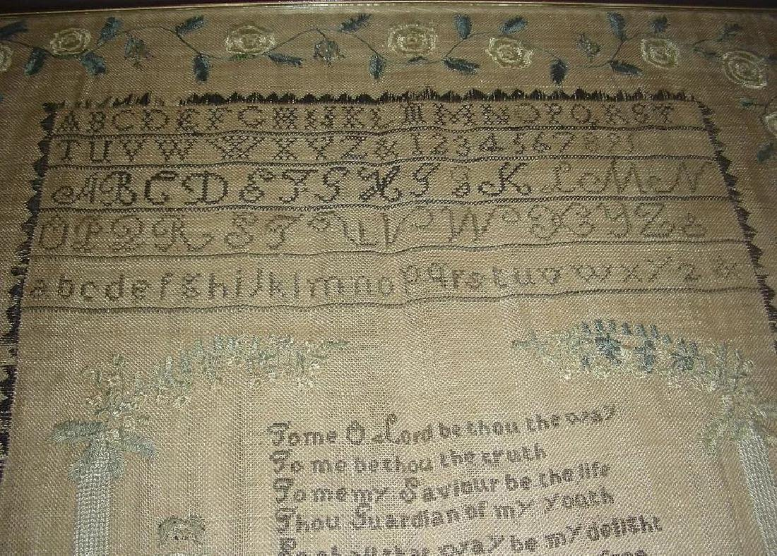 1830 American Needlework Sampler by Roxana Holmes - 7