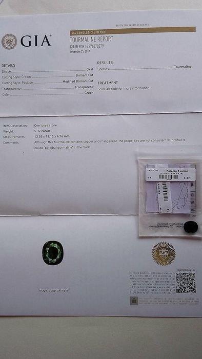 Green Cuper Tourmaline GIA - 3