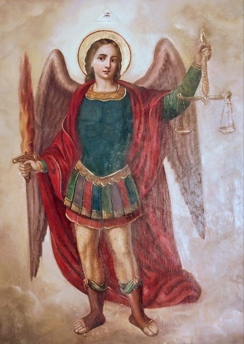 Antique 19c Russian icon of Archangel - 4