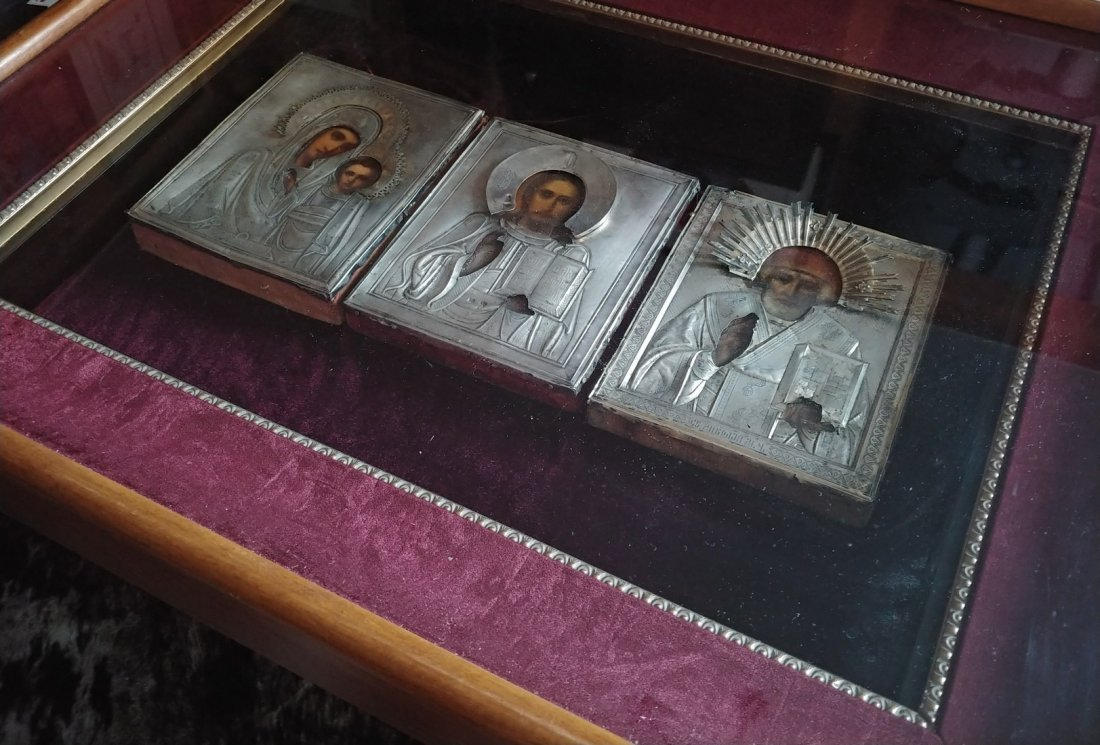 Lot of three(3) Antique 19c 84 Silver icons of Mother - 3