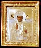 Antique 19c 84 Silver Gold Plated Russian icon of