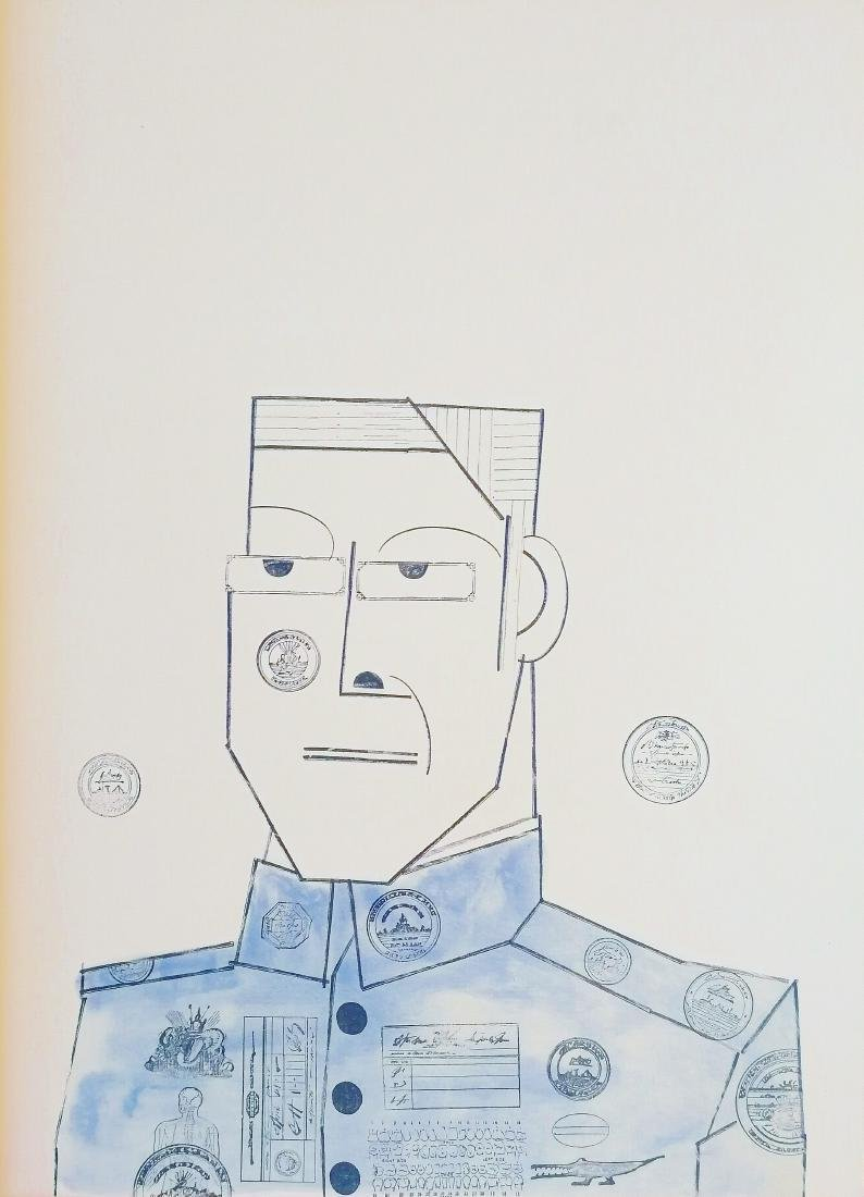 Saul Steinberg Print Man Face