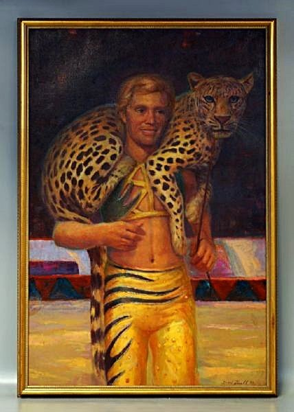 David Farrell Painting Portrait of an Animal Trainer
