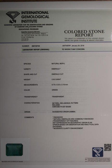 IGI Certified Seal -  Emerald - 0.93 ct - Zambua - 4
