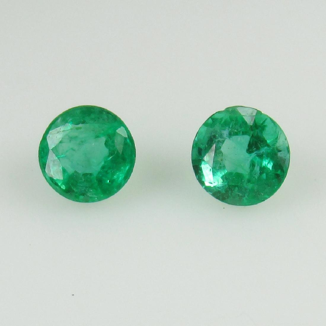 0.58 Ct Genuine Loose Zambian Emerald 4.2 mm Round Pair