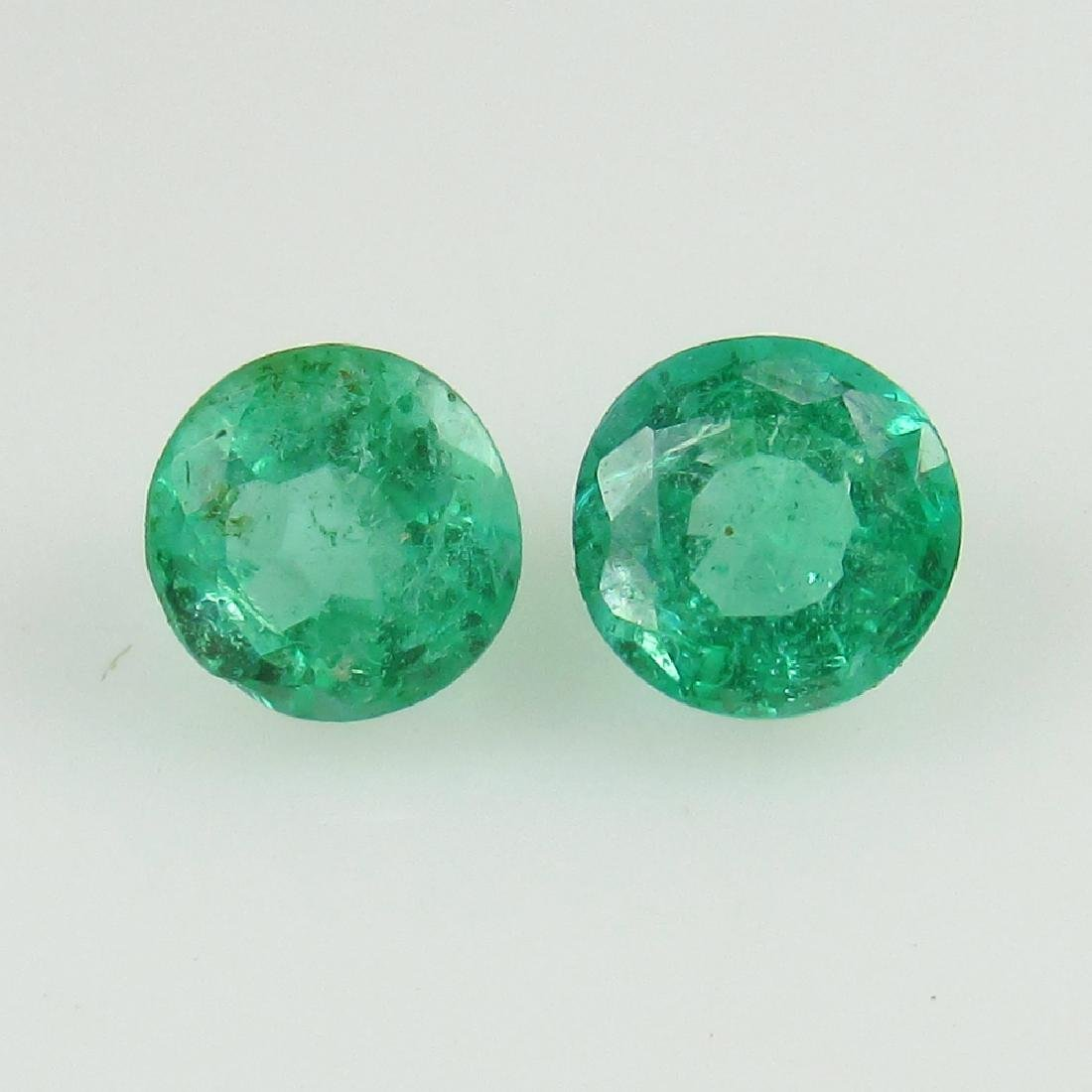 0.58 Ct Genuine Loose Zambian Emerald 4.2 mm Round Pair