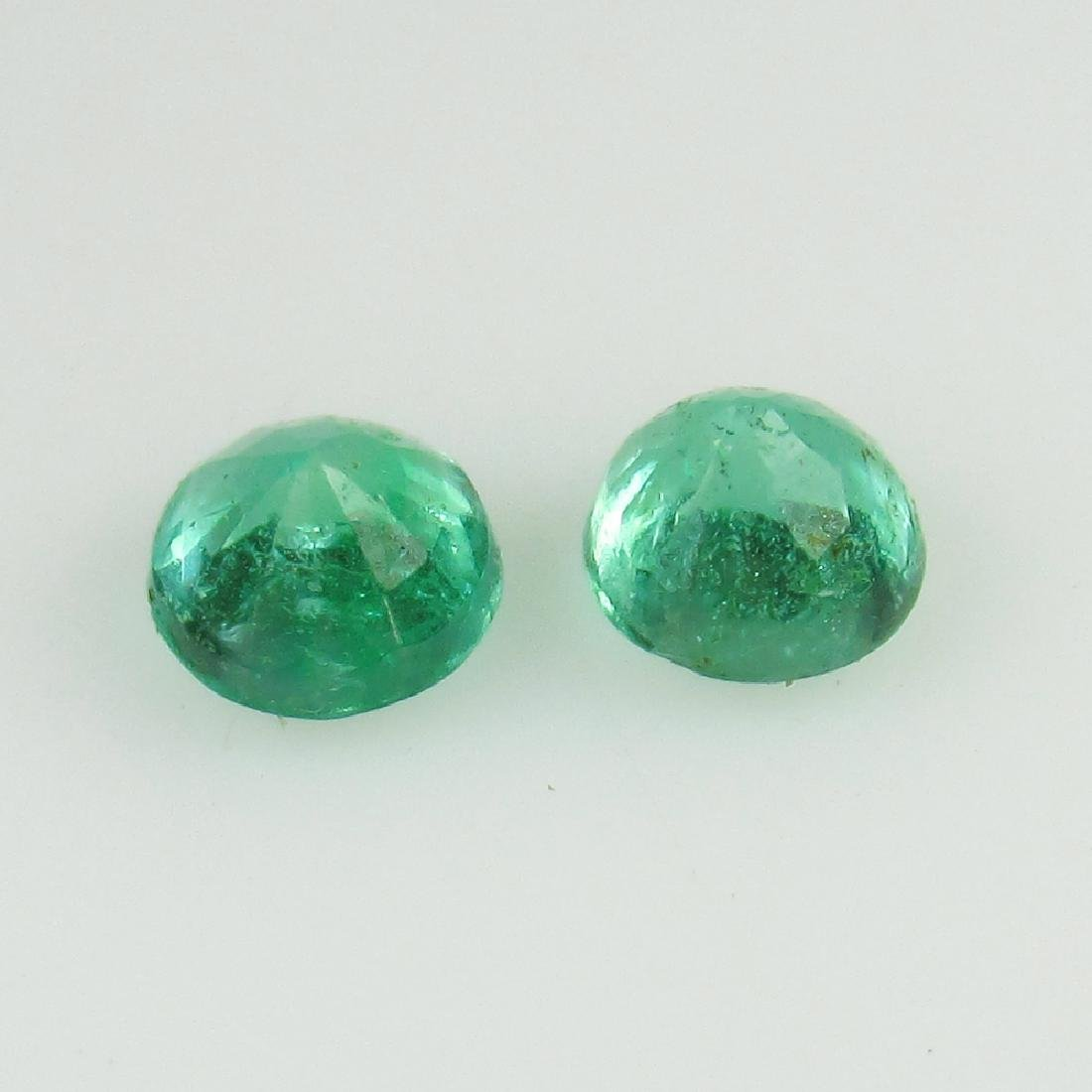 0.58 Ct Genuine Loose Zambian Emerald 4.2 mm Round Pair - 2