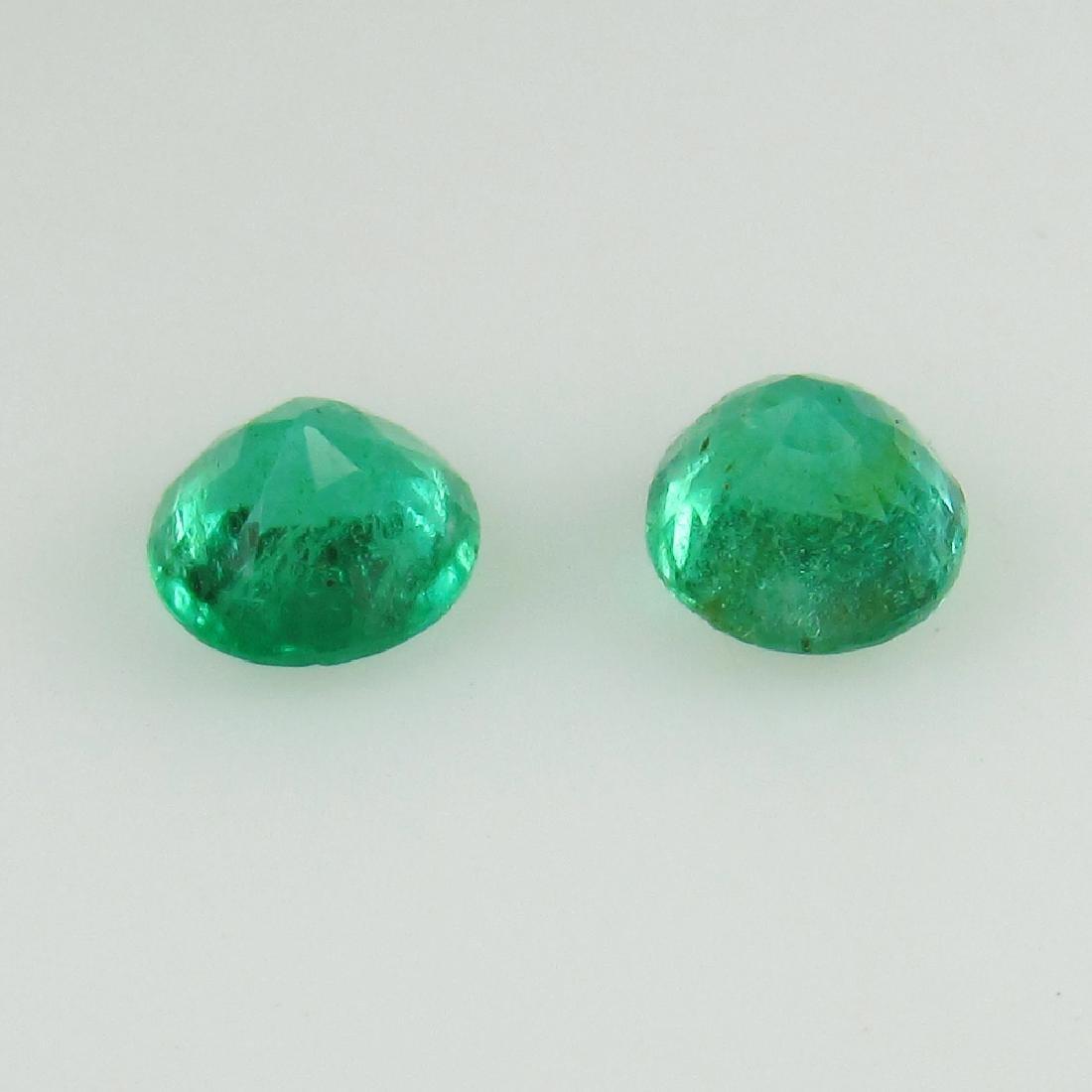 0.58 Ct Genuine Loose Zambian Emerald 4.2 mm Round Pair - 2