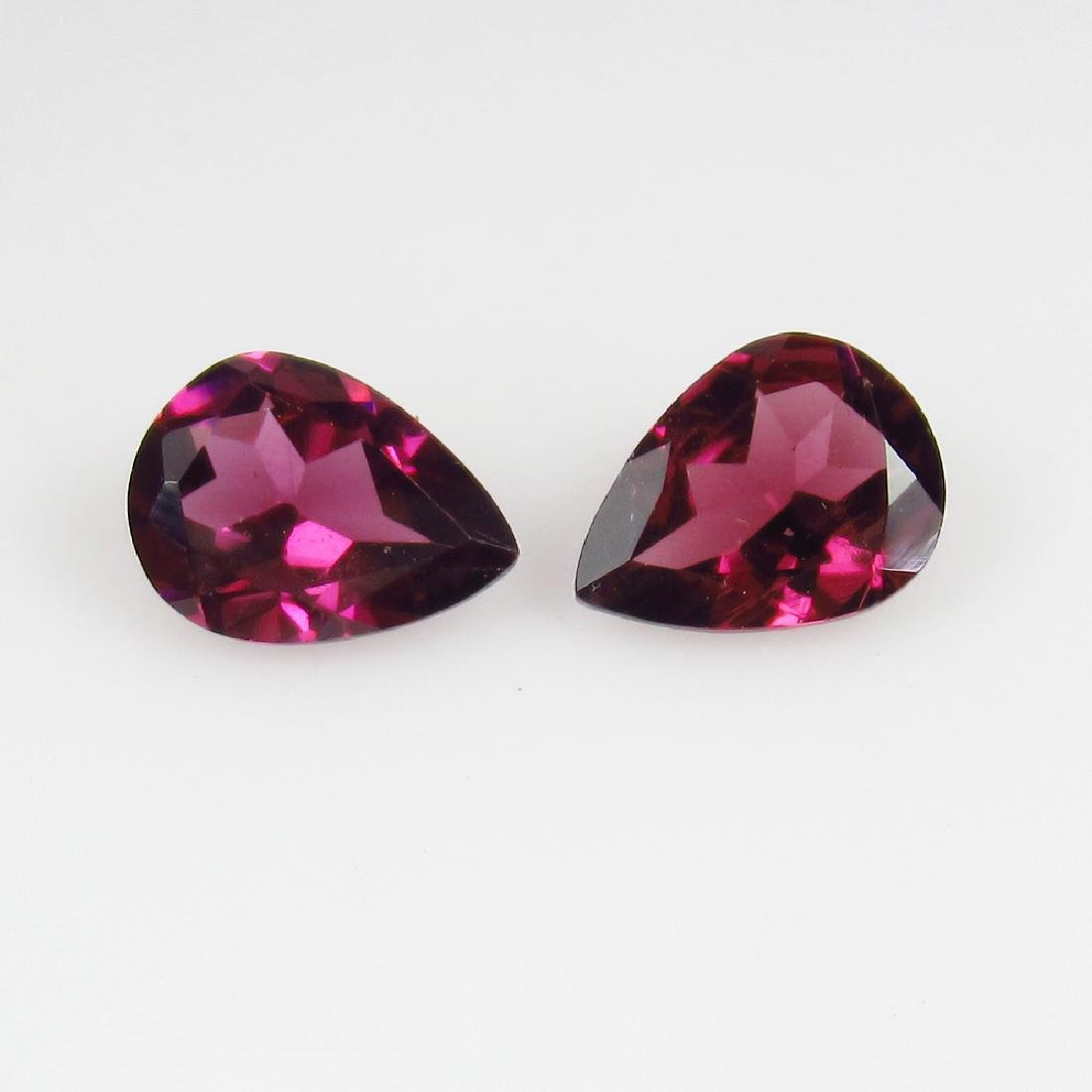 2.29 Ct Genuine Loose Pink Rhodolite Garnet Pear Pair