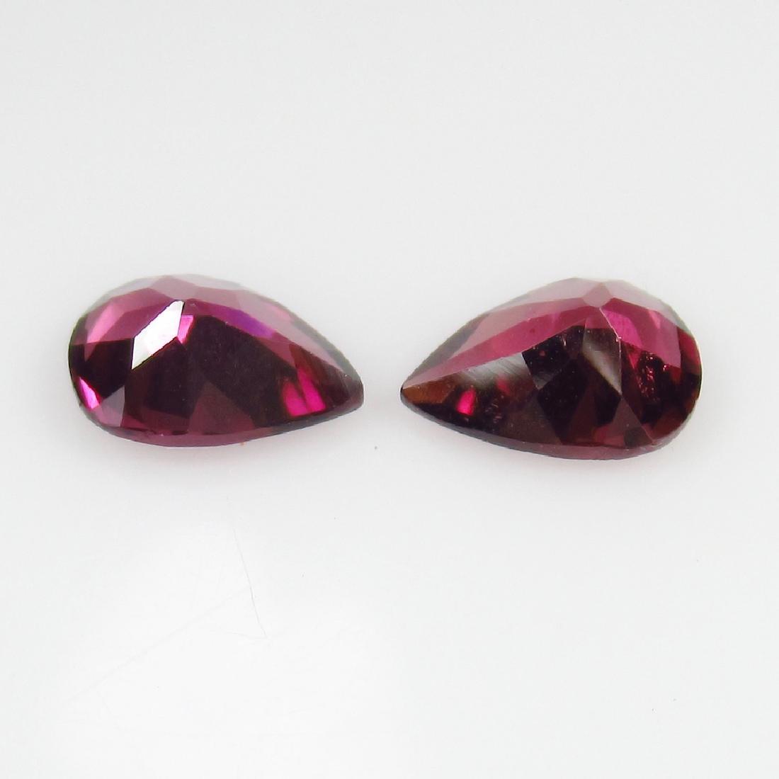 2.29 Ct Genuine Loose Pink Rhodolite Garnet Pear Pair - 2