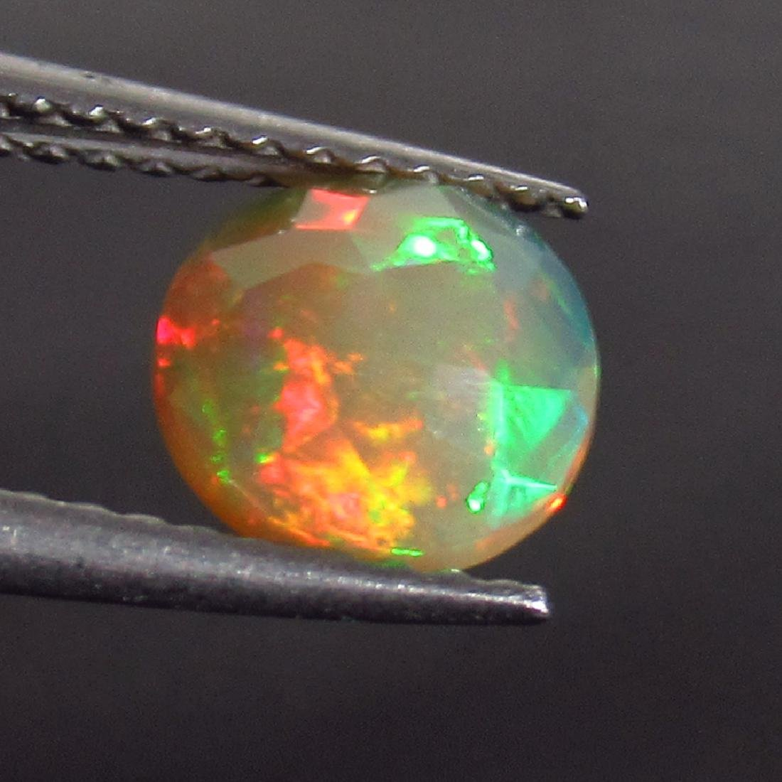 0.66 Ct Genuine Ethiopian Honey Fire Faceted Opal 8 mm - 2