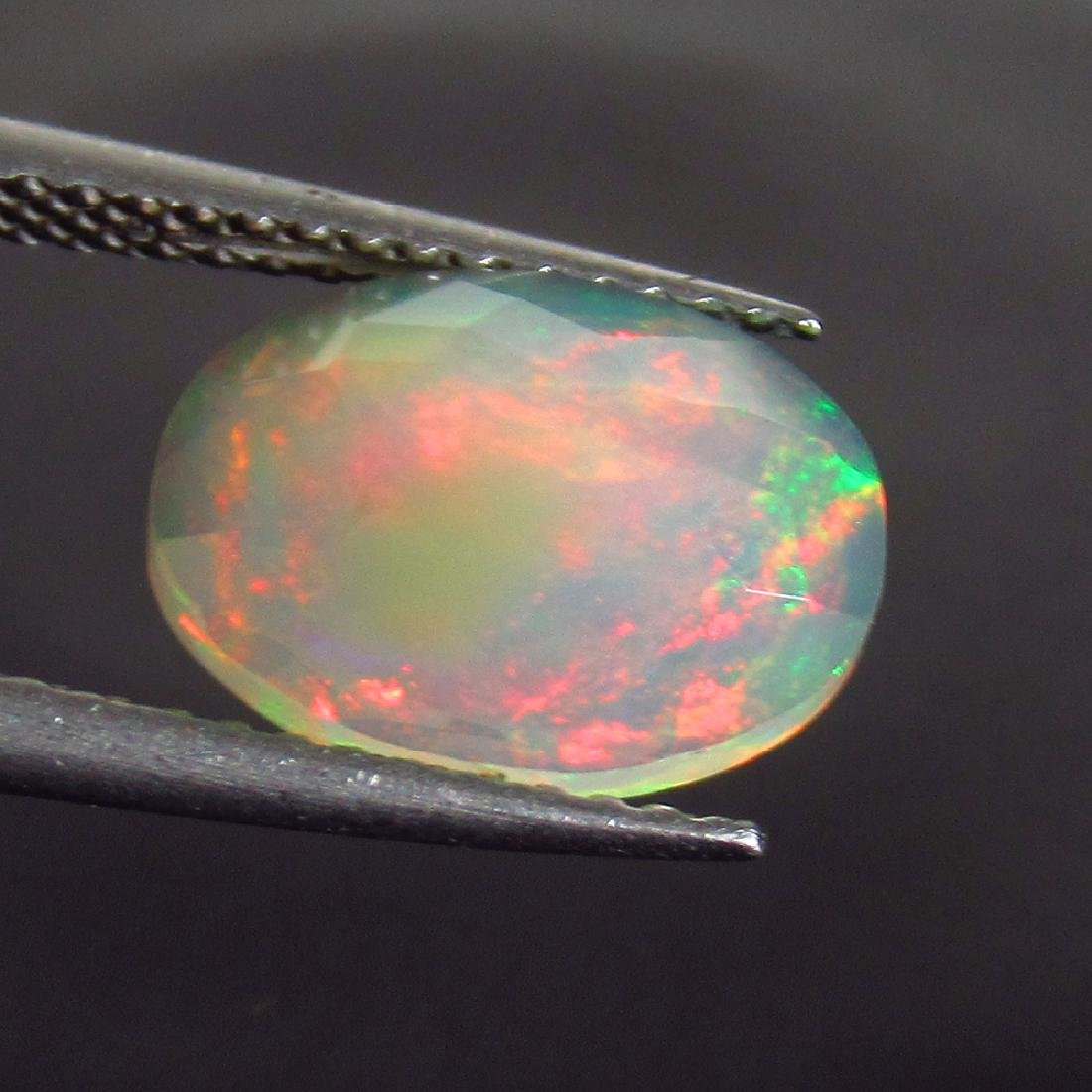 1.75 Ct Genuine Ethiopian Multi-Color Fire Faceted Opal - 2