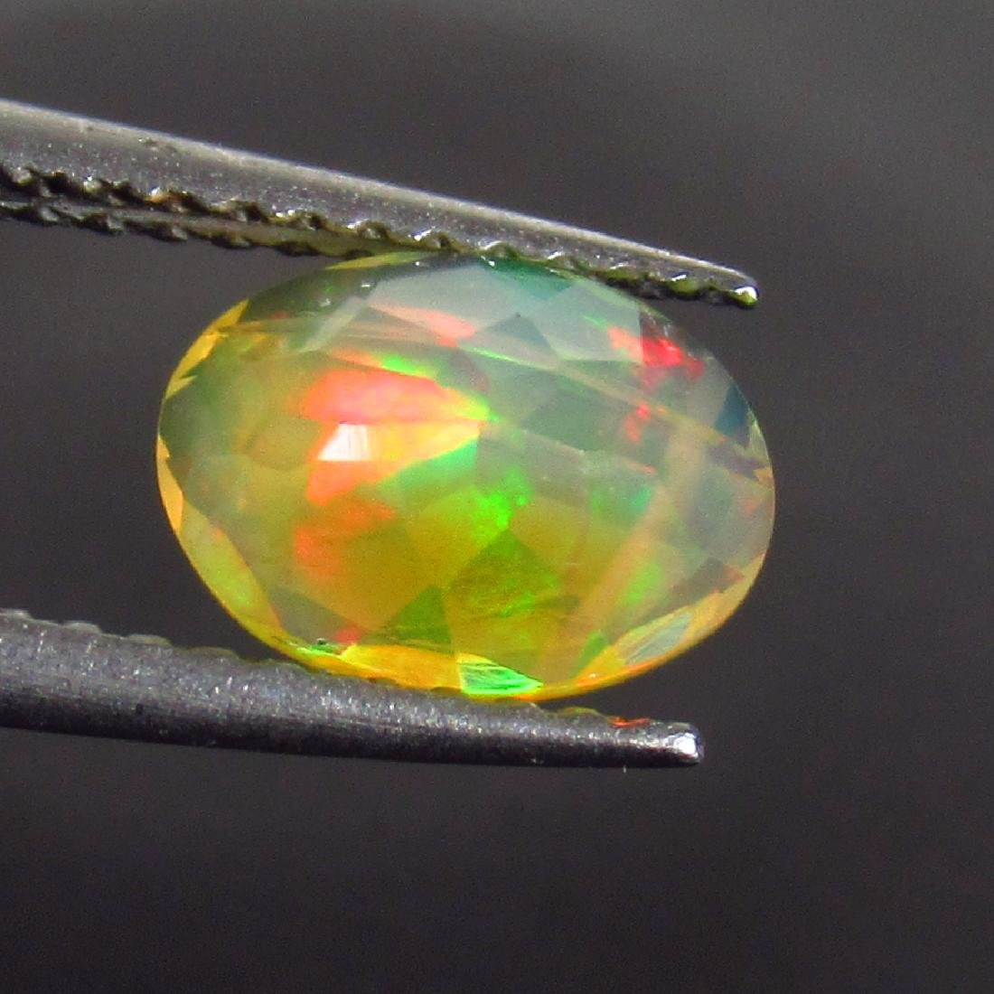 0.78 Ct Genuine Ethiopian Multi-Color Fire Faceted Opal - 2