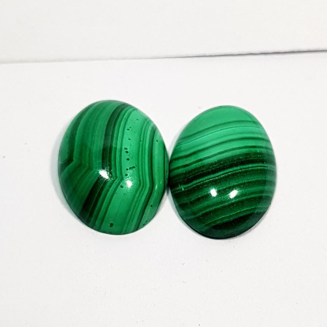2 Pcs of Wonderful Oval Cut Natural Malachite - 11.00