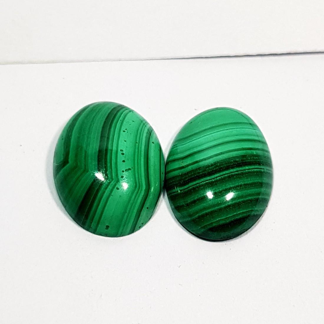 2 Pcs of Wonderful Oval Cut Natural Malachite - 11.00 - 2