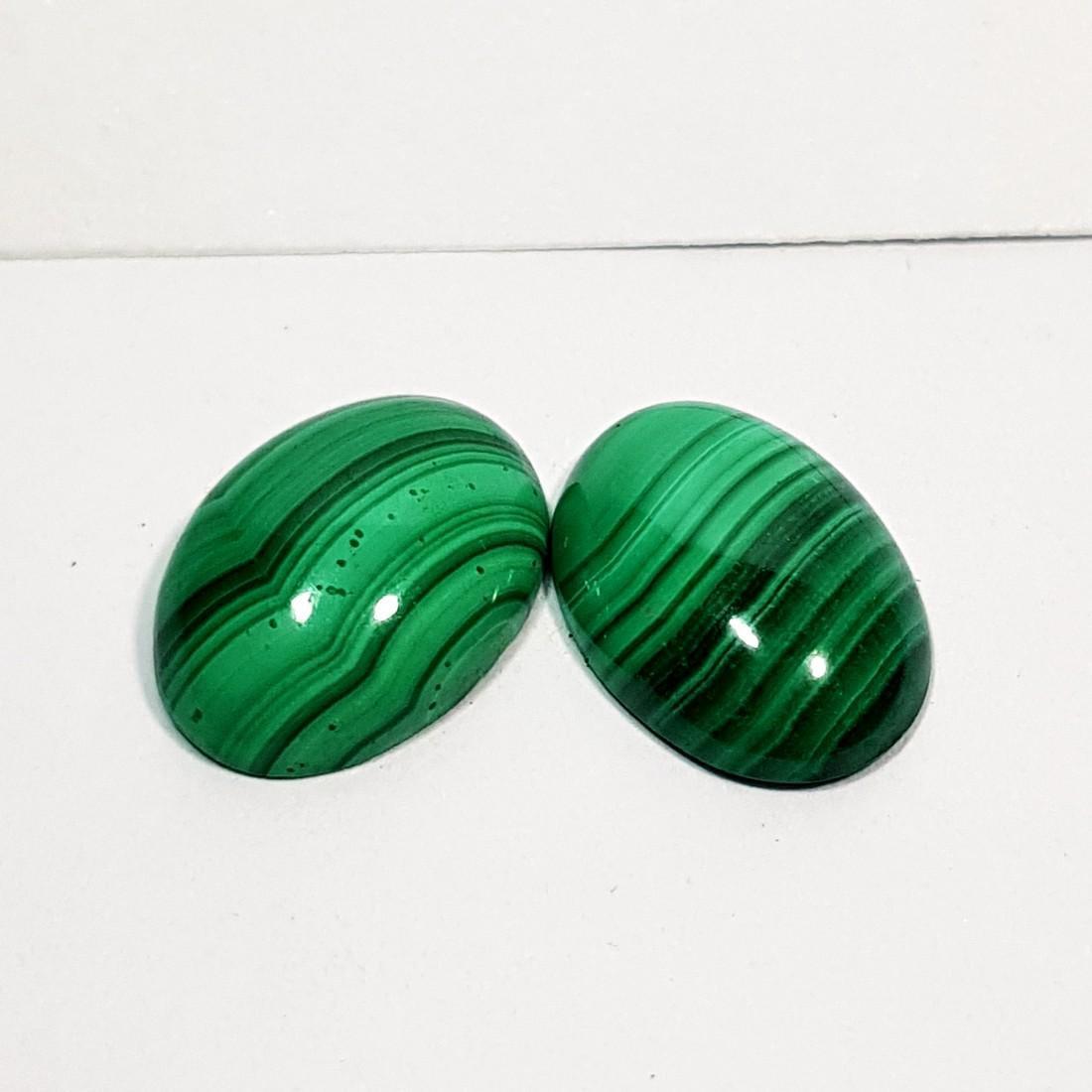 2 Pcs of Wonderful Oval Cut Natural Malachite - 11.00 - 3