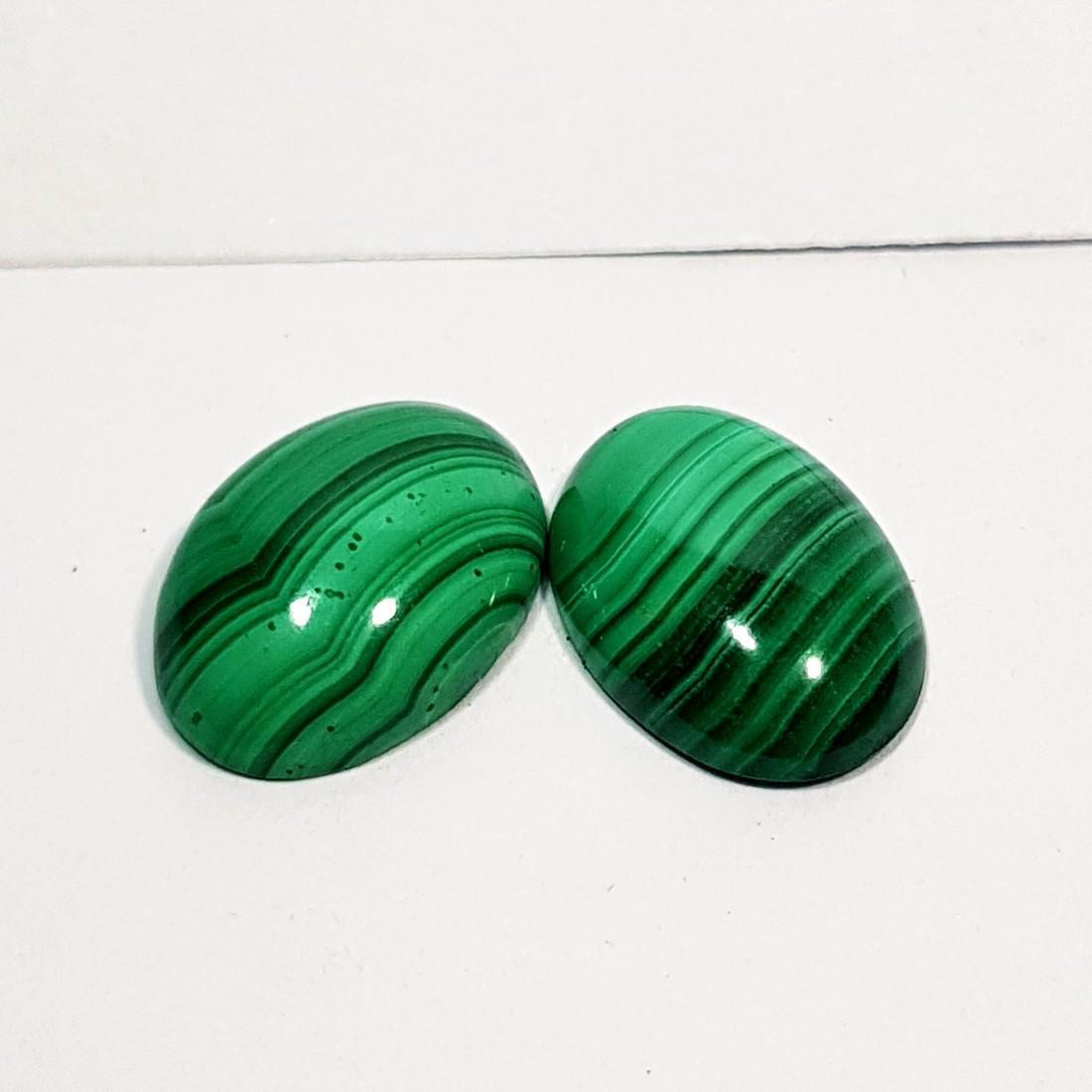 2 Pcs of Wonderful Oval Cut Natural Malachite - 11.00 - 4