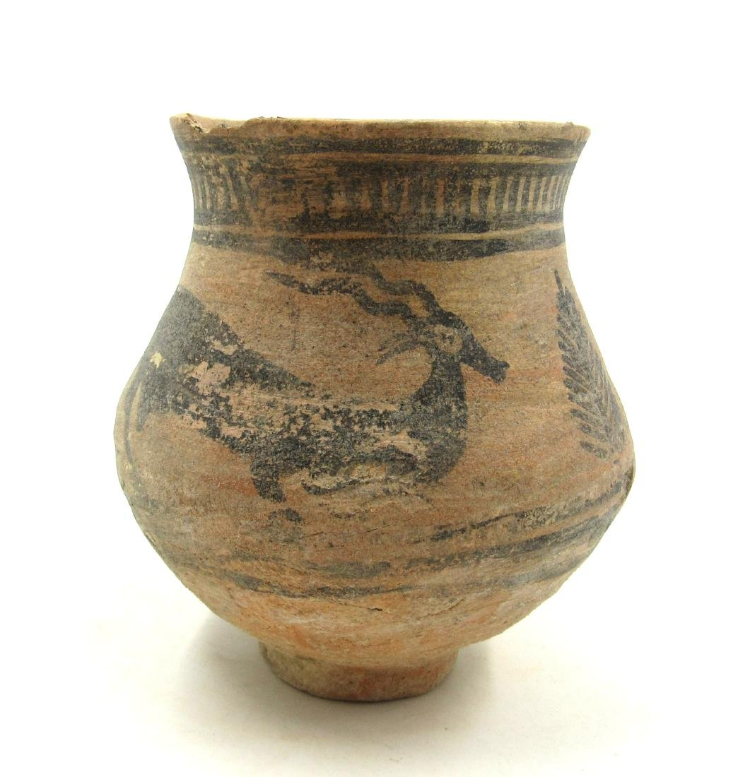 Ancient Indus Valley Terracotta Jar with Stag