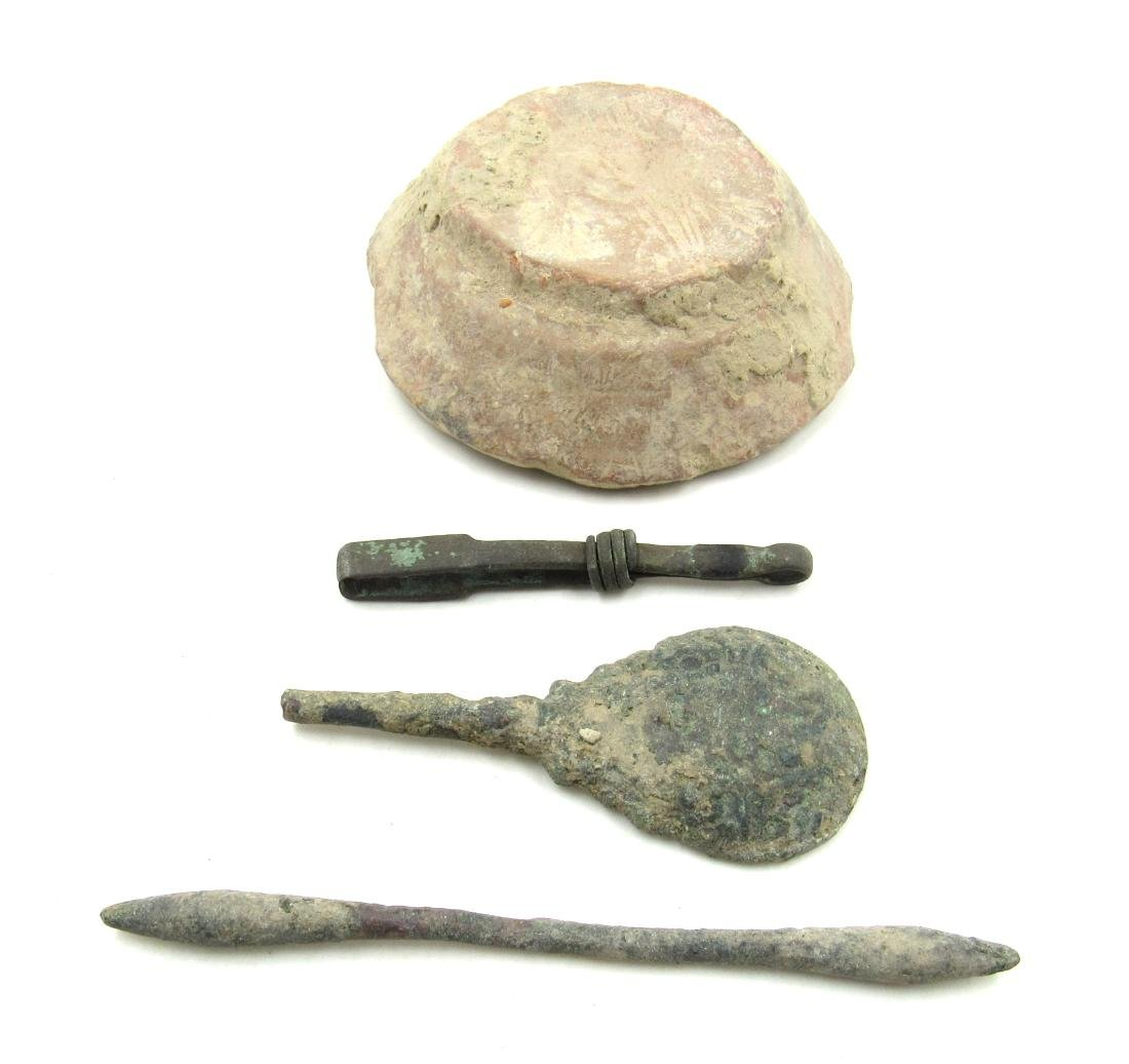 Ancient Roman Terracotta Bowl & Bronze Tools - 2