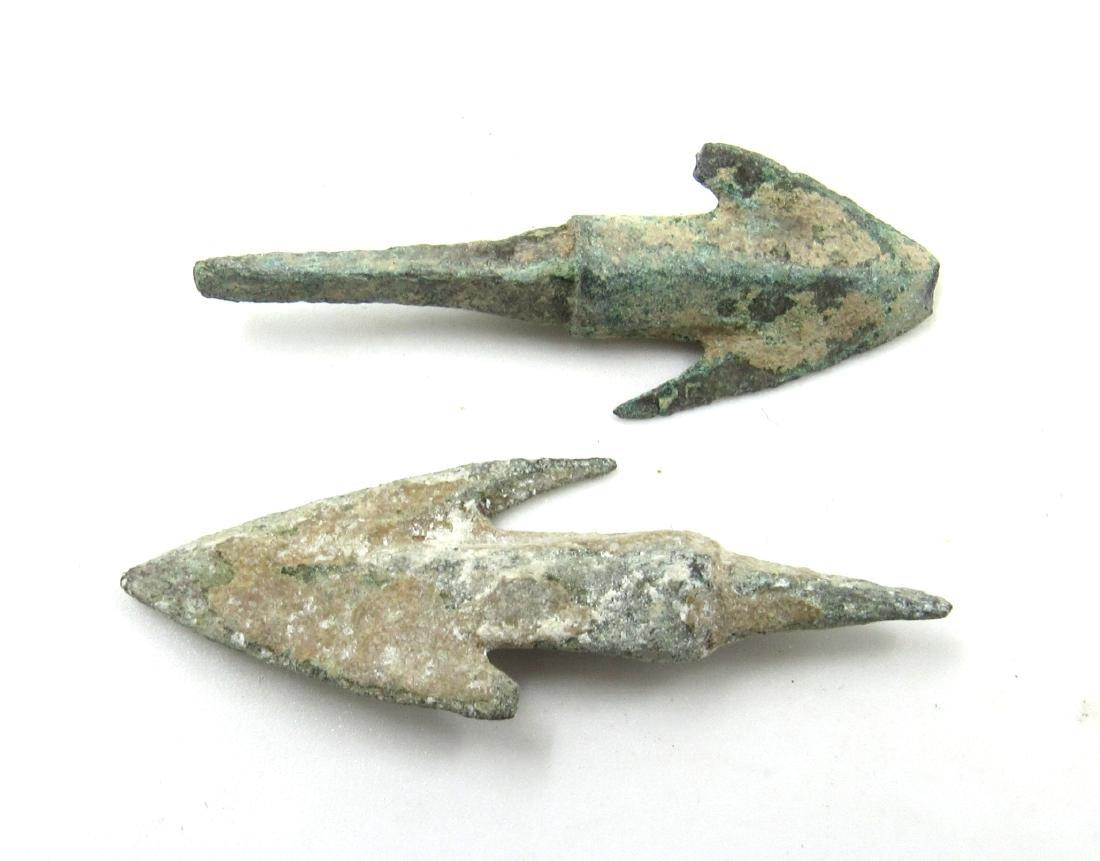 Pair of Ancient Greek Bronze Arrow Heads - 2