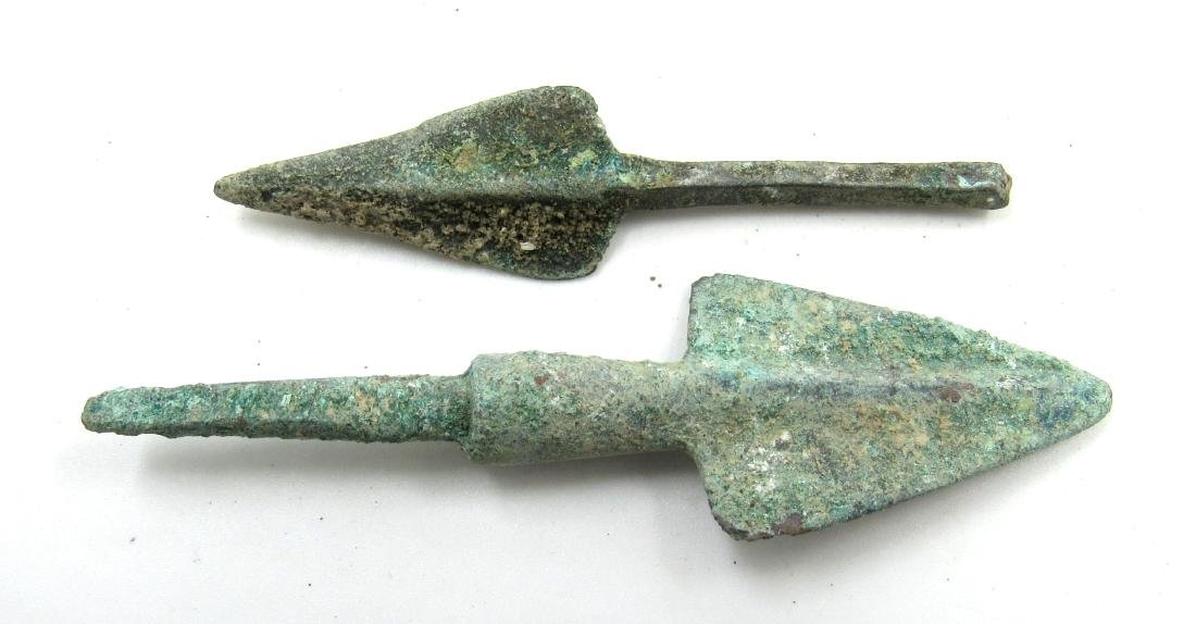 Pair of Ancient Greek Bronze Arrow Heads