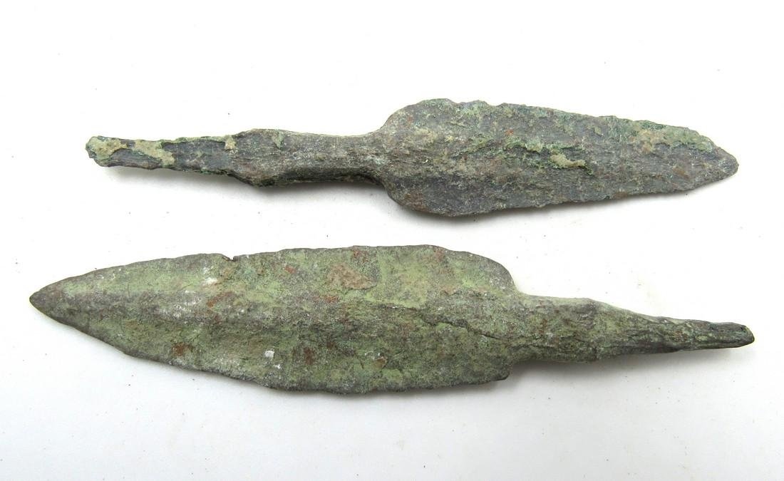 Pair of Ancient Greek Bronze Arrow Heads