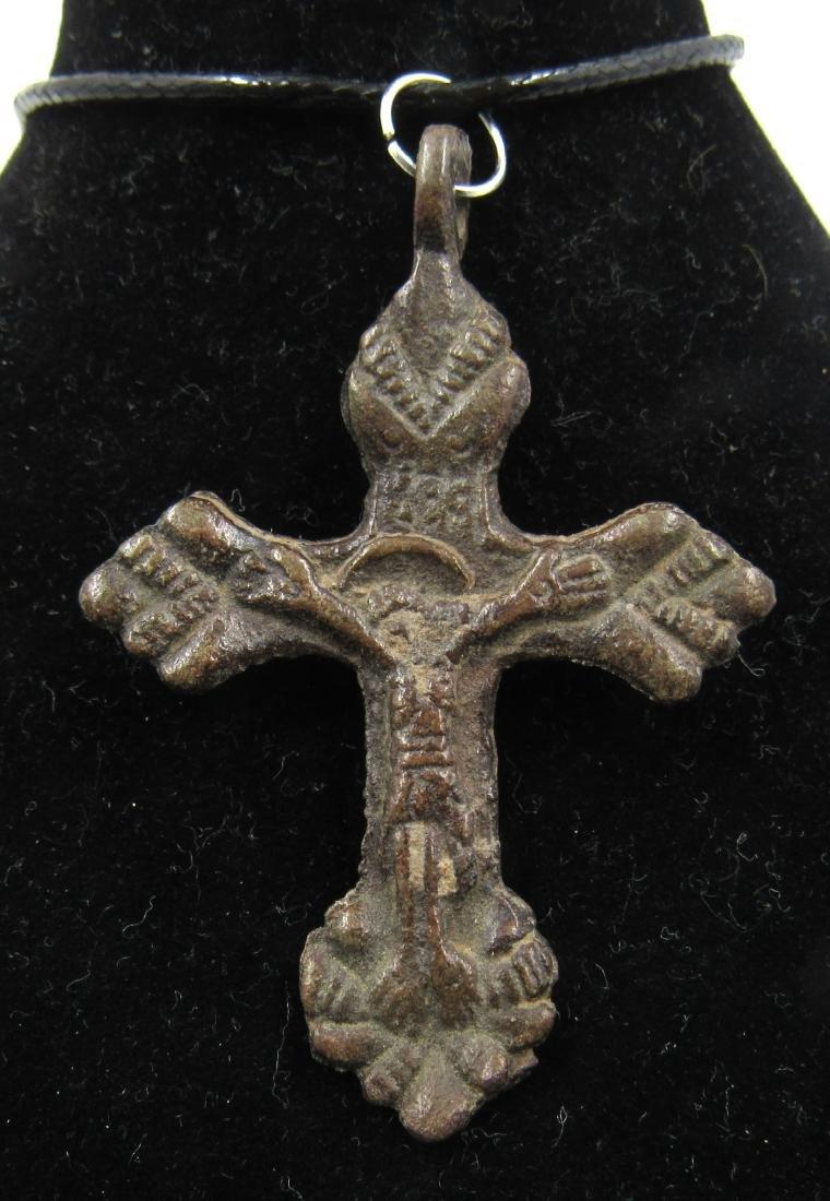 Medieval Crusaders Era Bronze Cross Pendant with Jesus