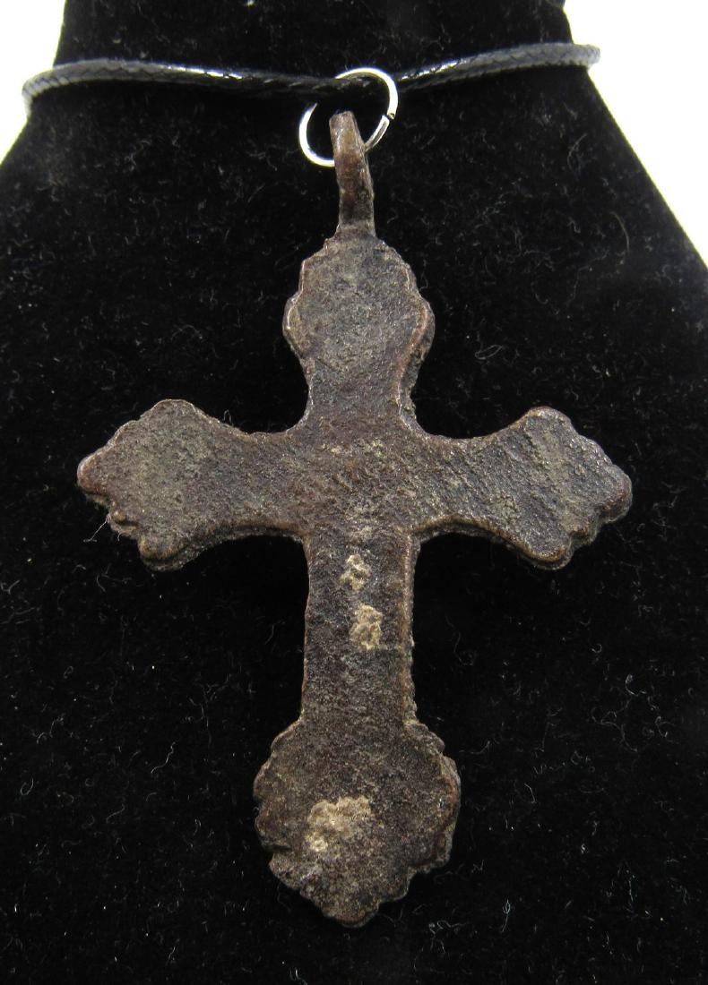 Medieval Crusaders Era Bronze Cross Pendant with Jesus - 2
