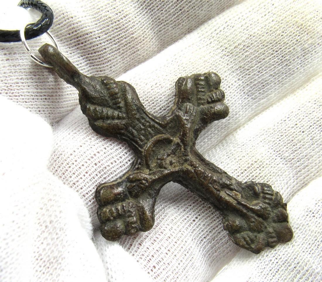 Medieval Crusaders Era Bronze Cross Pendant with Jesus - 3